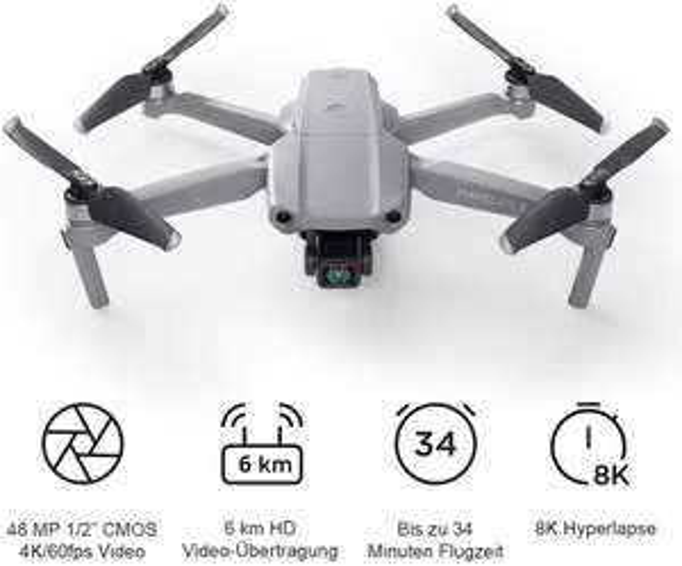 "DJI Mavic Air 2 Fly More Combo (4K UHD Video-Drohne inkl. Zubehör, 48 MP, 1/2"" CMOS-Sensor, 34 Min. Flugzeit, 3-Achsen-Gimbal)"