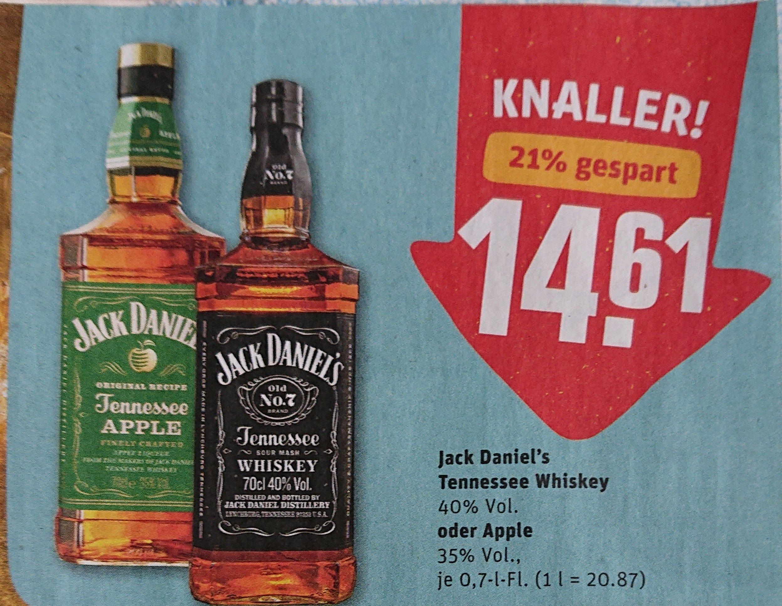 Jack Daniel's (Daniels) / Jim Beam Whiskey 0,7 l [REWE] [KW42 12. - 17.10. /online ab 11.10.] (mit 15x Payback 13,56 / 9,01 € möglich)
