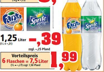 6 x Sprite Zero oder Fanta Zero a 1,25 Liter=7,5 Liter (Liter =0,27) @ Thomas Philipps