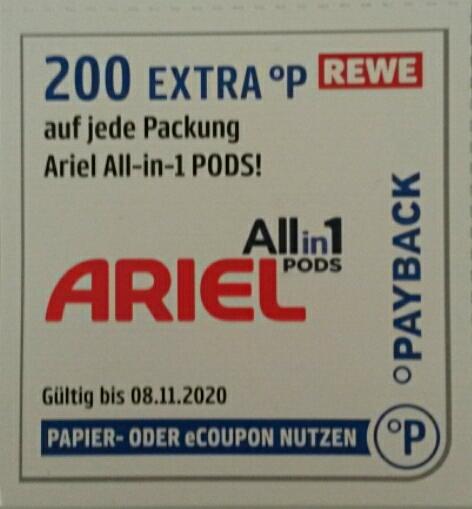 Rewe Payback Ariel 200 Extra Punkte auf jede Packung Ariel All-in-1 Pods bis 8.11.