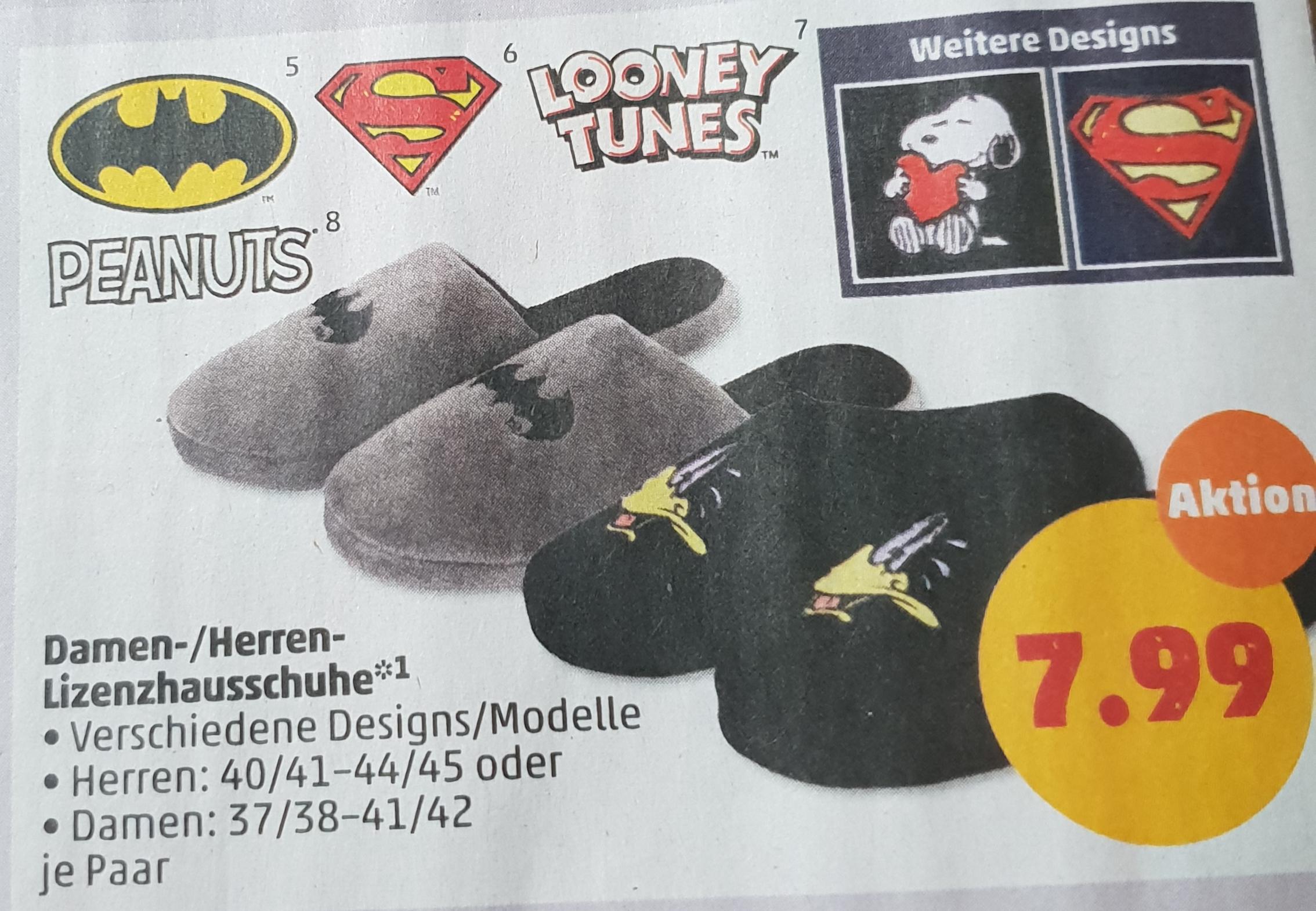 Sie&Ihn Hausschuhe Bat/Superman/Looney Tunes/Peanuts je Paar für nur 7,79€ bei Penny