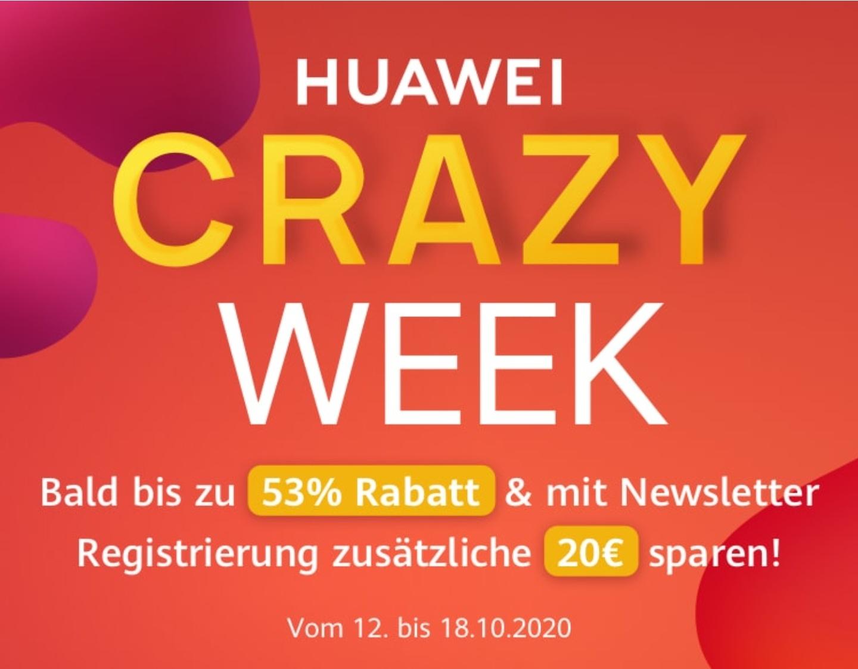 Huawei Crazy Week - Bis zu 53% +20€ Newsletter Rabatt* - 100€ MBW