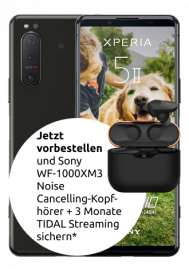 Sony Xperia 5 ii 5G 128GB + Sony WF-1000XM3 In-Ear mit mobilcom-debitel o2 Free Unlimited MAX (unbegrenztes Datenvolumen mit 225 MBit/s)
