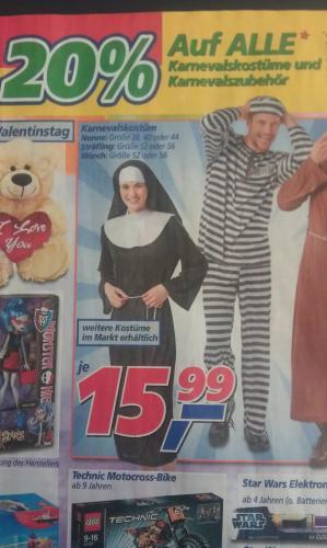 [real] 20% auf alle Karnevalskostüme und Karnevalszubehör am Mittwoch, den 6.02.2013