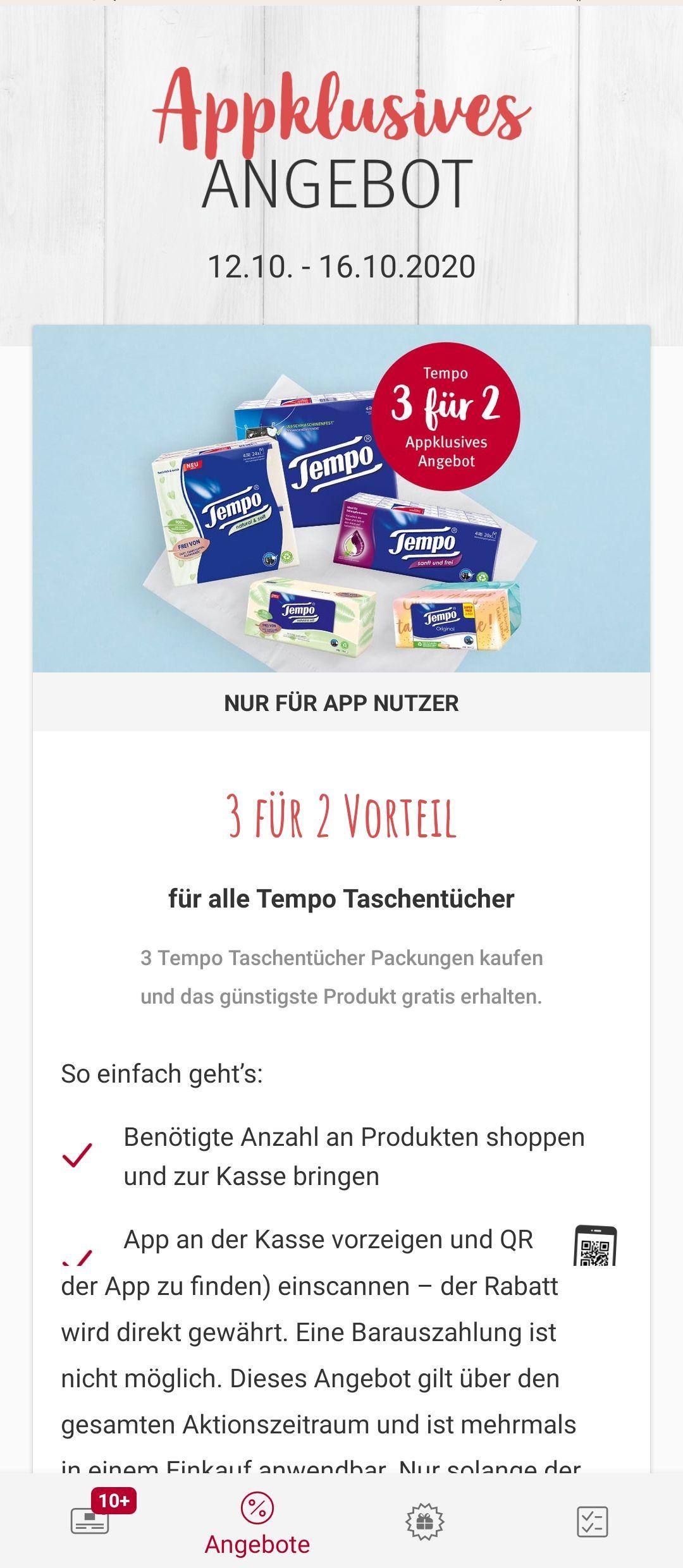 [Rossmann offline] 3 für 2 auf alle Tempo Taschentücher + 10% App Gutschein