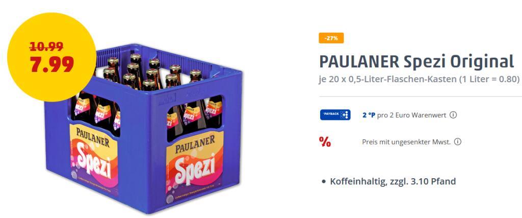 Paulaner Spezi - 20 x 0,5l für 7,79€ (zzgl. 3,10€ Pfand) [Regional Penny Nordbayern?]