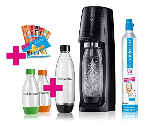 SodaStream Easy Wassersprudler-Set Vorteilspack mit CO2- Zylinder, 2x 1 L PET-Flasche, 2x 0,5 L PET-Flasche, 6x Sirupproben
