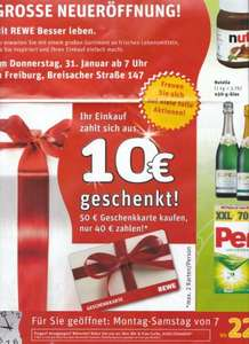 [Lokal] REWE Neueröffnung Freiburg Westarkaden - 50€ Geschenkkarte für 40€ // Für Amazon Gutscheine einlösbar!
