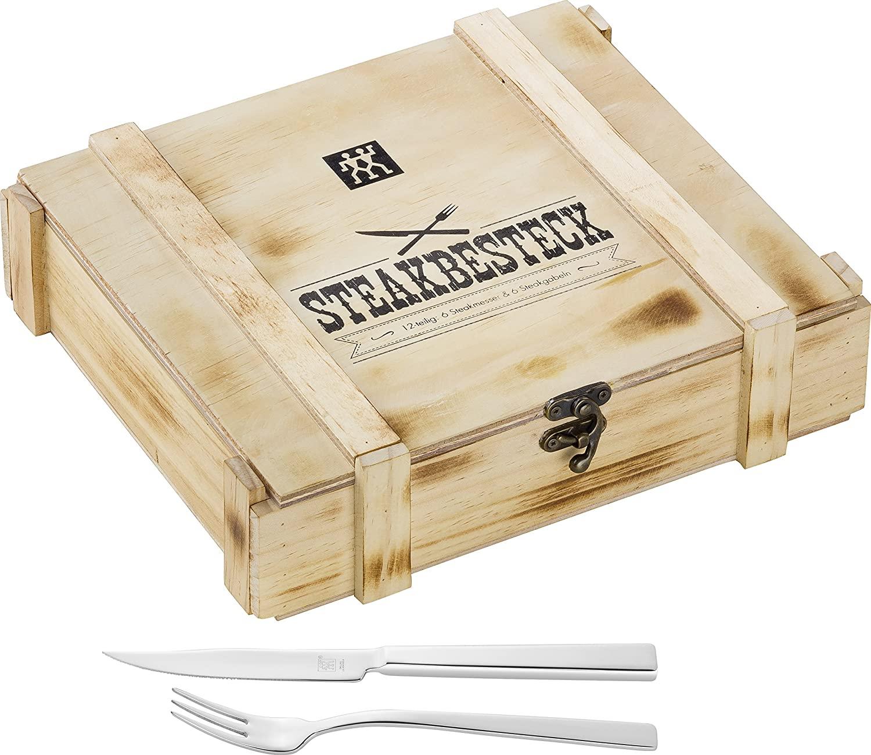Zwilling Steak Besteckset in Holzbox, Edelstahl, 12-teilig für Prime Mitglieder abgelaufen