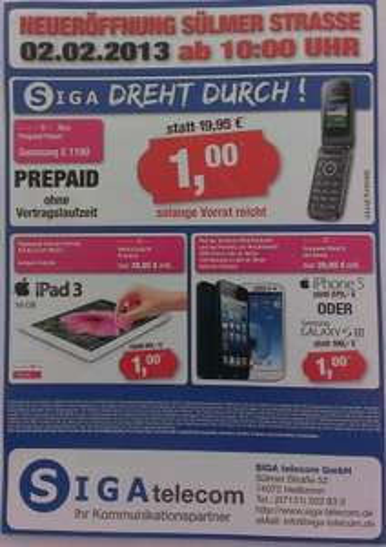 [LOKAL NUR 02.02.! SIGA HEILBRONN]  T-Xtra PREPAID PAKET inkl. HANDY Samsung E1190 nur 1€