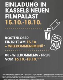 LOKAL - KASSEL 15.10.: Gratis Kino (freie Filmwahl) & Popcorn + Softdrink zur Neueröffnung im Filmpalast