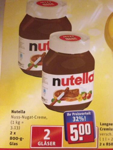 [Lokal?] Rewe Hannover - Nutella 1,6KG (2 * 800g) 5€   (800G = 2,50€!)
