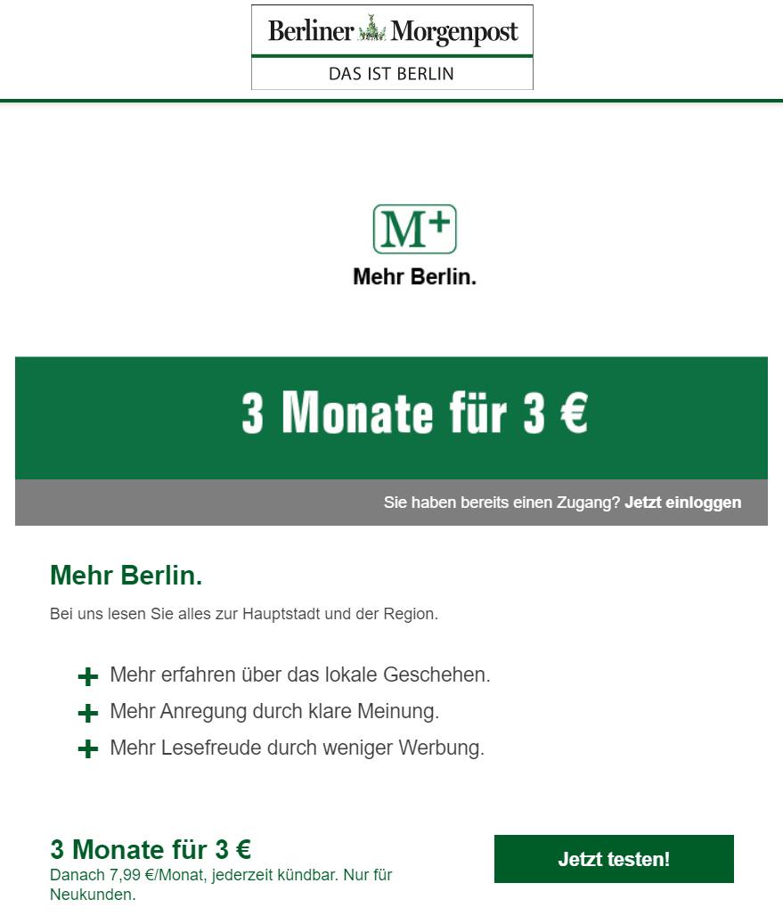 3 Monate Berliner Morgenpost Plus (M+)