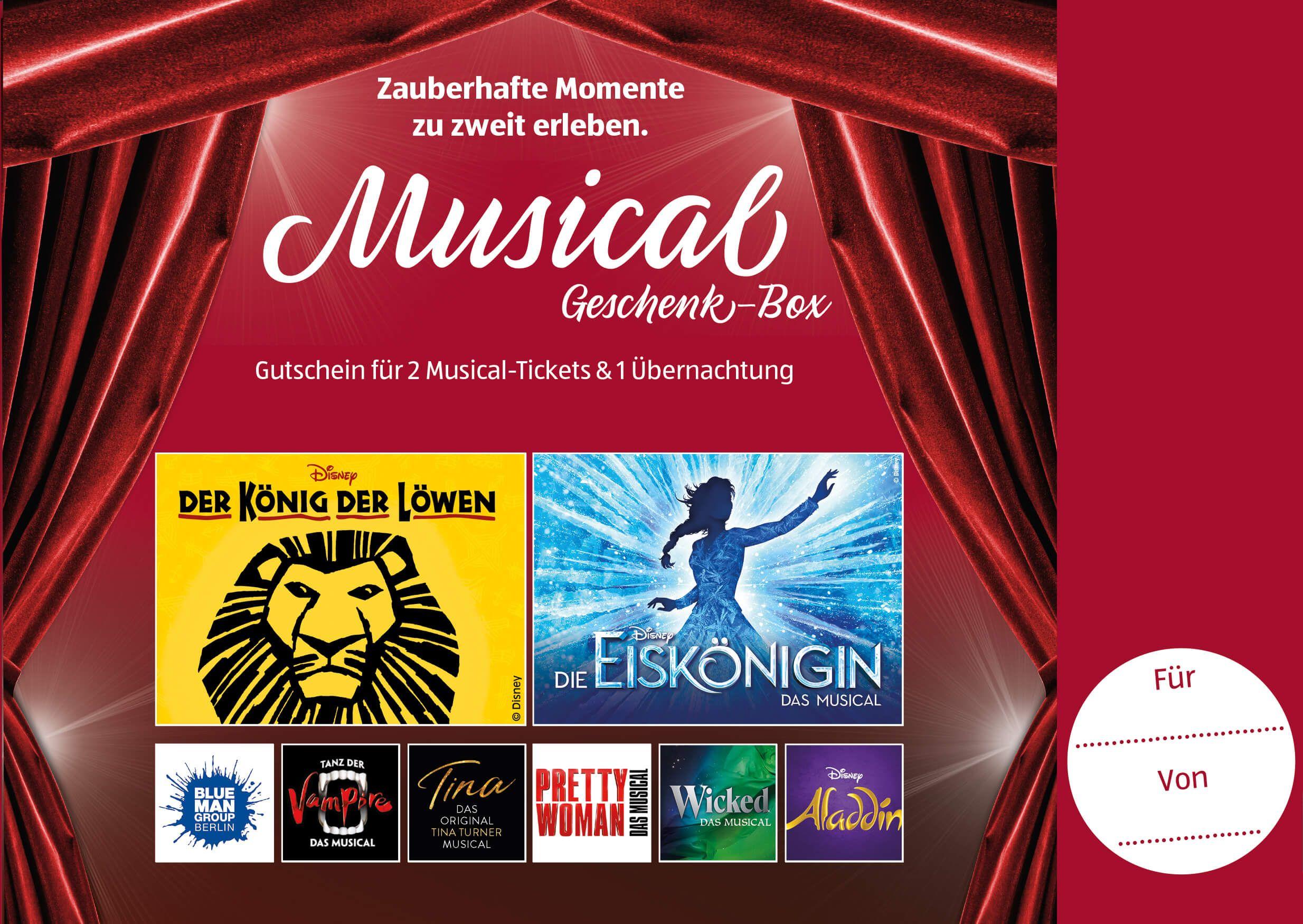 [Aldi-Reisen 2021] Städtereise für 2P / 2 Tickets für ein Musical deiner Wahl plus 1 ÜN im Hotel / HH, Berlin, Stuttgart