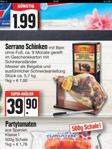 Ganzer Serrano-Schinken ca. 5,7 kg incl. Messer und Schinkenständer bei Edeka (offline)