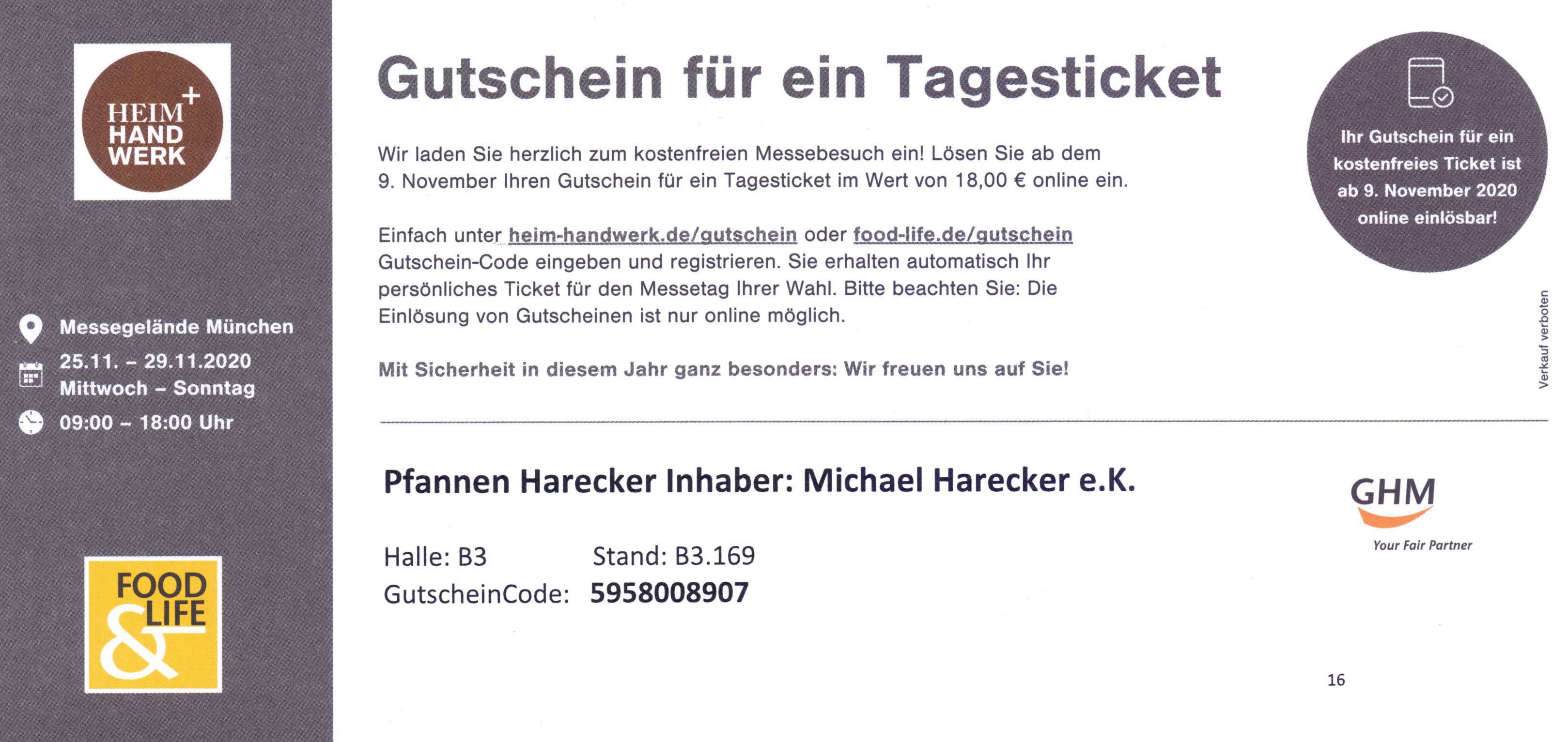 Kostenlos zur Heim&Handwerk Messe München