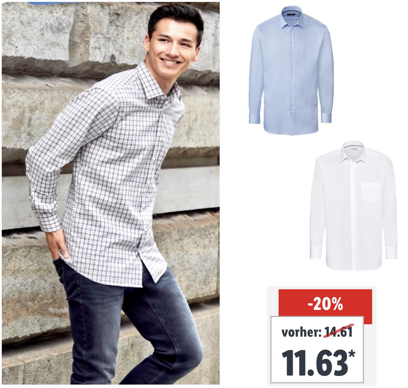 Lidl: NOBEL LEAGUE Bügelfreie Business Hemden Slim Fit u. Regular Fit für je 11,63€