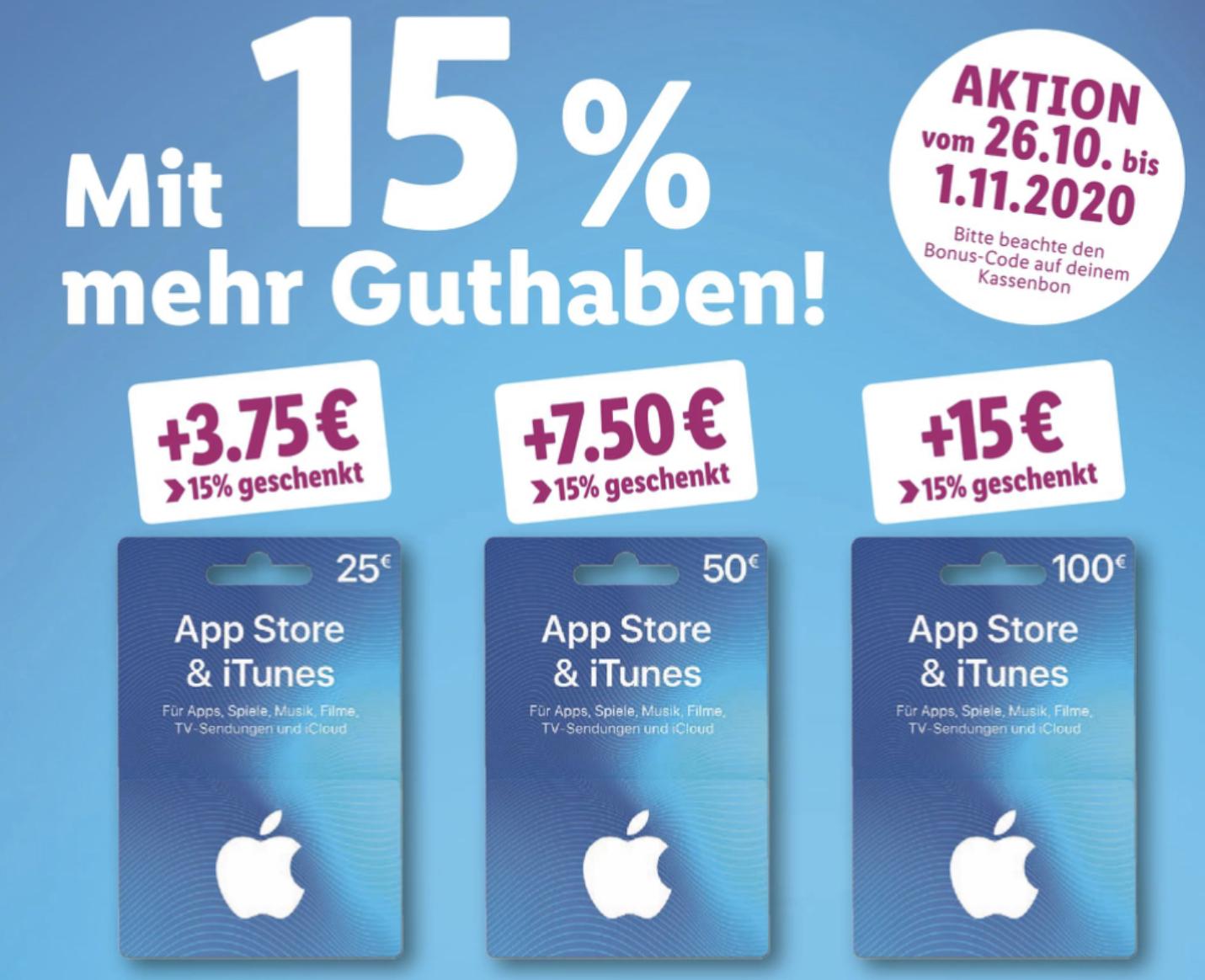 Lidl: 15% zusätzliches Guthaben für iTunes & App Store Geschenkkarten (25€, 50€ u. 100€) - ab 26.10.