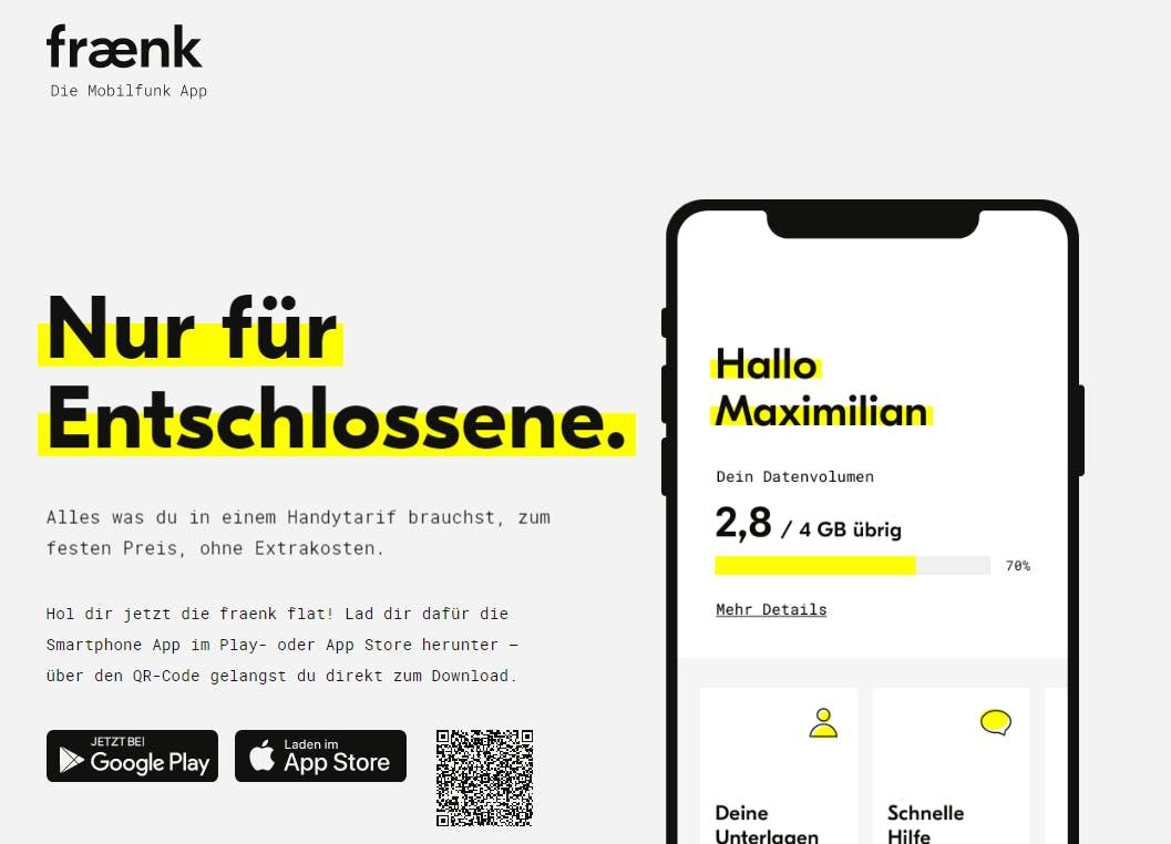 FRAENK Mobilfunk (4GB / Allnet Flat / SMS Flat / Telekom Netz) +1.000 Rakuten Punkte= 10€ Douglas/MediaMarkt/MyToys/Toom/Ikea/Otto/Thalia GS