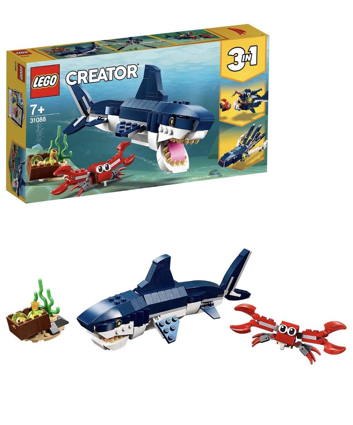 [amazon prime] LEGO Creator 31088 - Bewohner der Tiefsee mit Hai, Krabbe und Schatztruhe