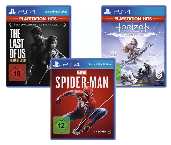 [Mediamarkt] The Last of Us: Remastered, Marvel's Spider-Man, Horizon Zero Dawn Complete Edition) Nur Online - [PS4] für 39,97 bei Abholung