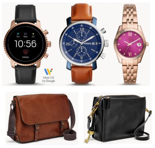 Fossil FlashSale - bis zu 70% Rabatt auf Smartwatches, Uhren und Taschen, zB.: Herrenuhr Rhett Chronograph Leder (Bild mitte)