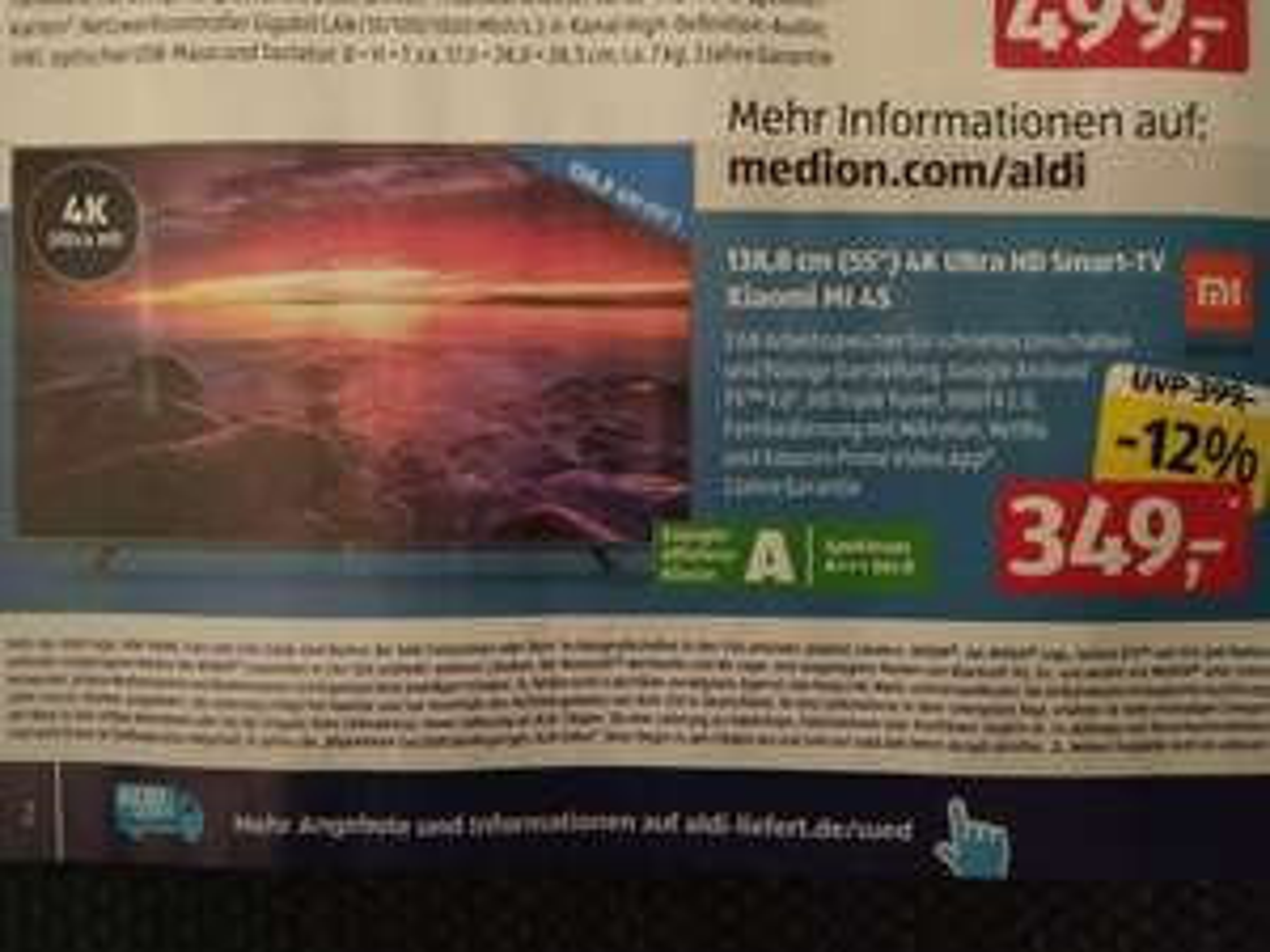 [Aldi Süd offline] Xiaomi Mi 4S TV 55 Zoll 4k Ultra HD