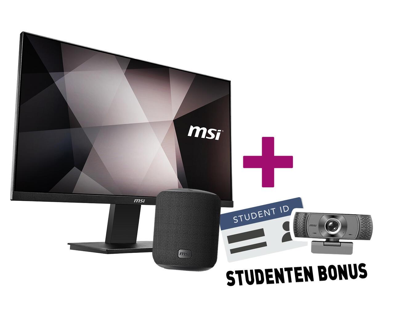 [Studenten] MSI PRO MP241DE 24 Zoll FHD IPS Monitor + Webcam + MSI- Bluetooth Lautsprecher