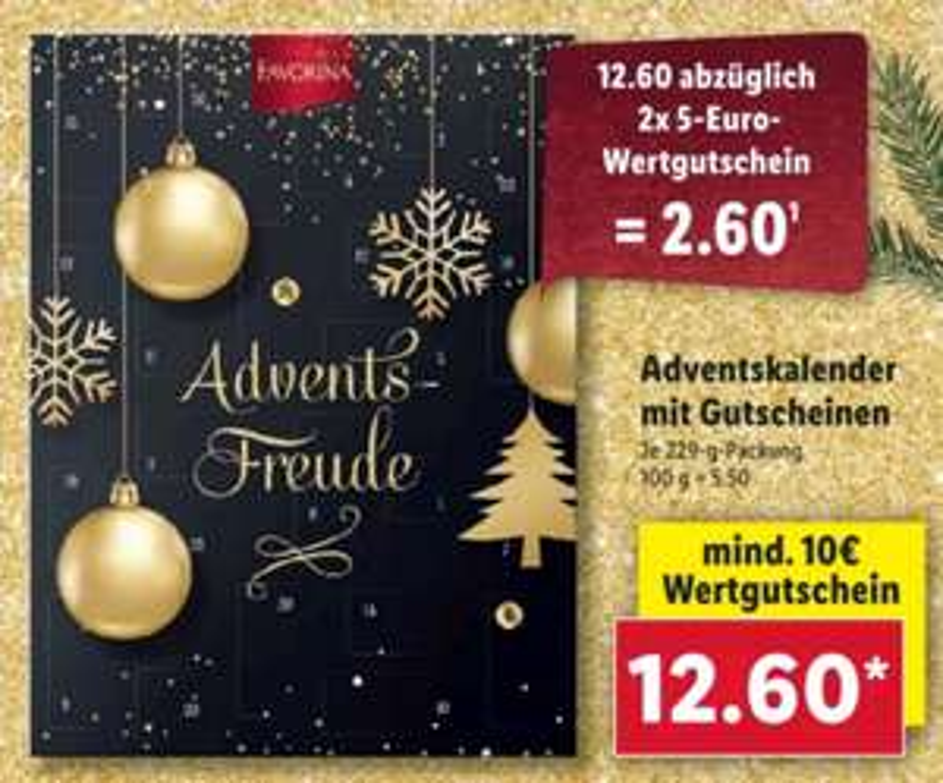 [LIDL] Adventskalender Favorina mit mind. 2x 5-Euro Wertcoupons ab 26.10.