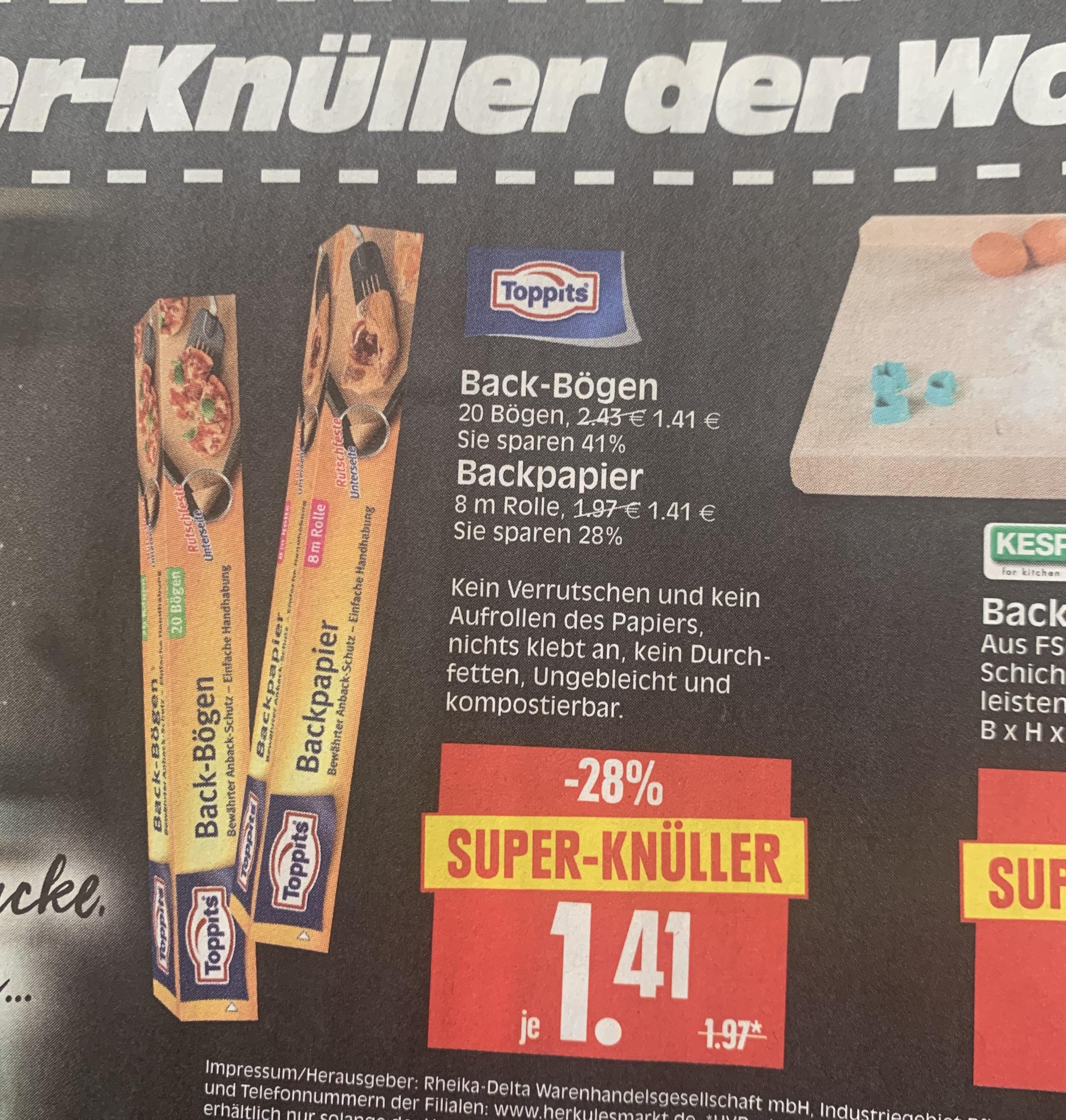 [Herkules] Regional - Supermarkt Toppits Backpapier - Scondoo 1 € - kochbarcashback