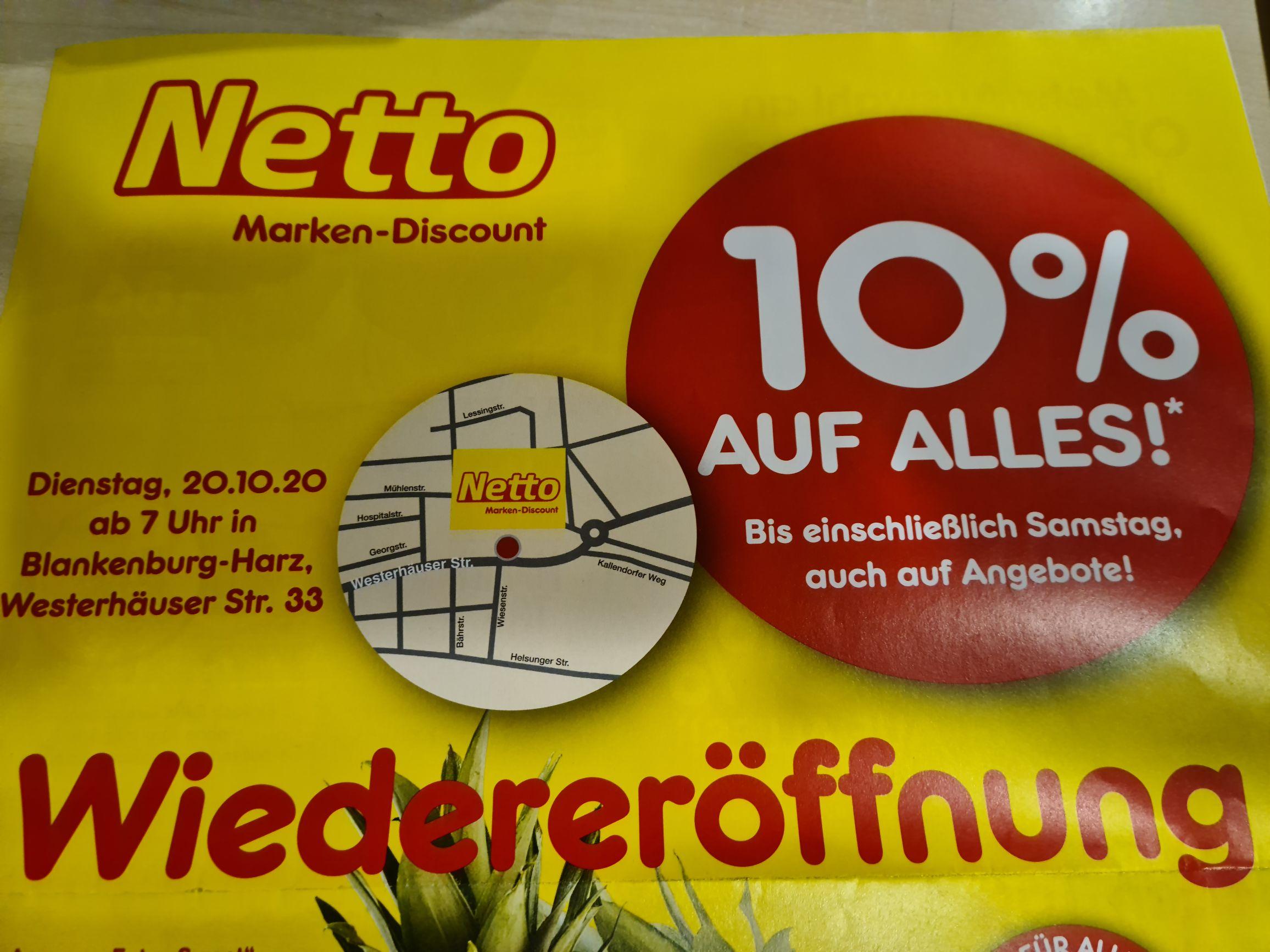 10% auf alles im Netto Marken-Discount Blankenburg-Harz( Lokal)