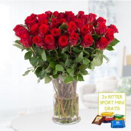 40 Rote Rosen (40cm) + 2 gratis Mini-Schokis (lieferbar bis zum 24.10.2020)