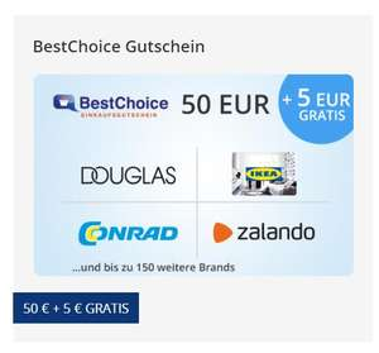 [Postbank Kunden] 55€ BestChoice Gutschein für 50€ // 12% Douglas, 9% Adidas, 8% Toom, 8% Poco usw.