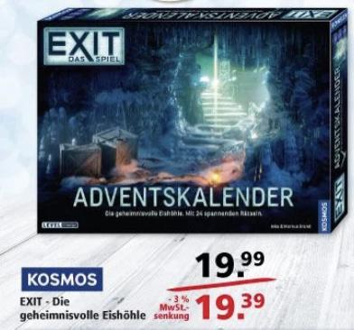 [Lokal Offline Leer und Emden] Exit Adventskalender 2020 (KOSMOS 693206) - Die geheimnisvolle Eishöhle bei Multi, bundesweit für 23 Euro