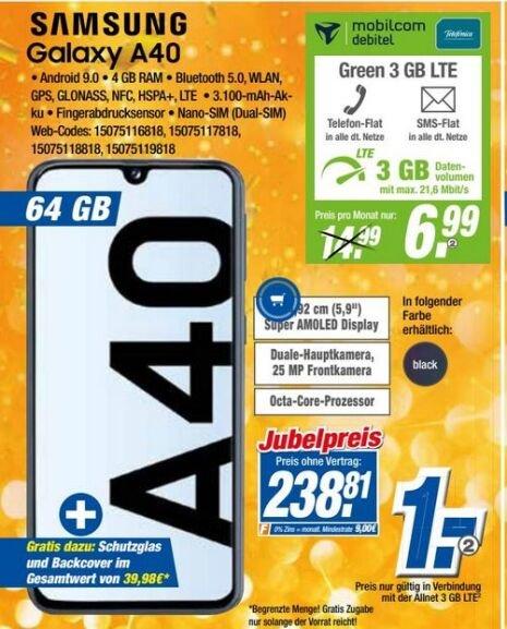 Samsung Galaxy A40 64GB inkl Allnet Flat 3GB