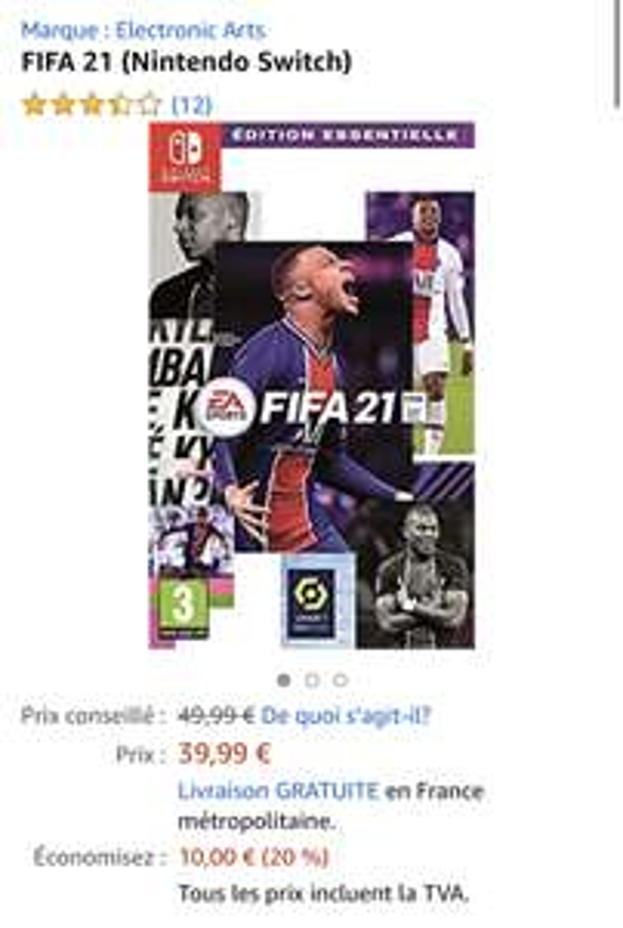 FIFA 21 für Nintendo Switch @ Amazon [FR]
