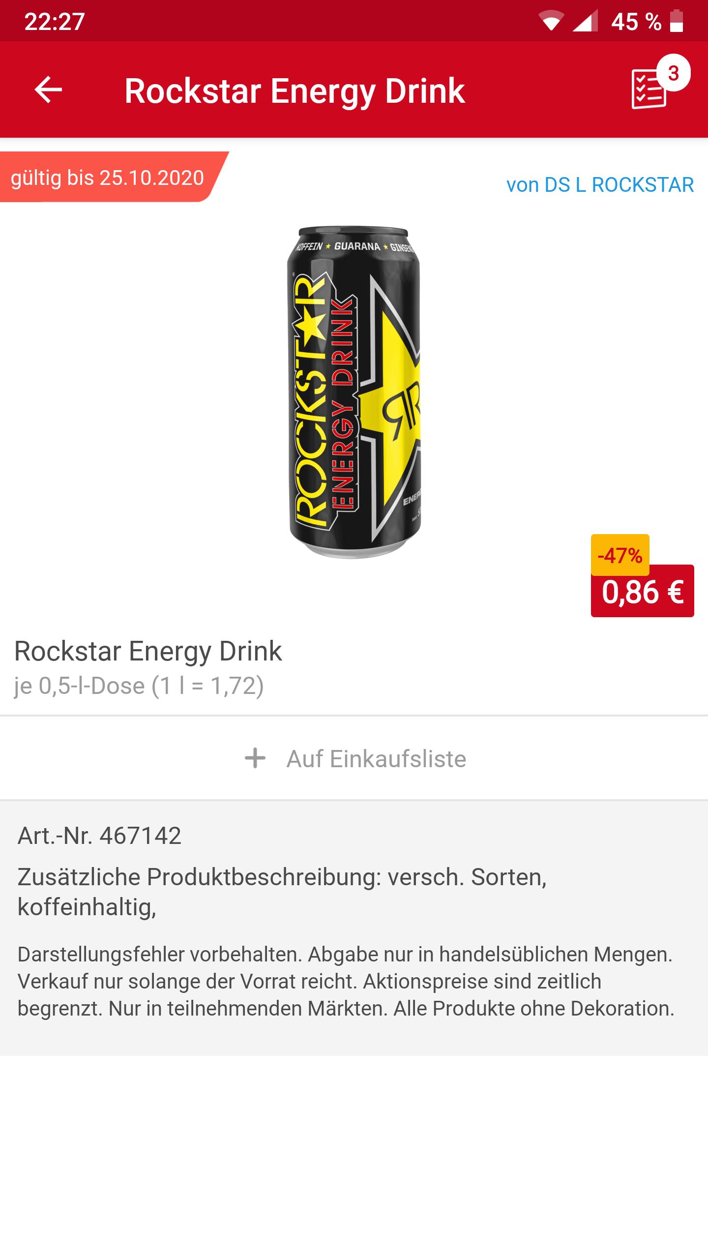 REWE Bundesweit (?) Rockstar @0,86 / Coca Cola 2 Liter @1,25