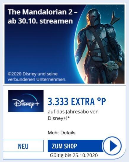 Disney+ Jahresabo - 3333 Payback-Punkte (entspricht 33,33€ Cashback) für effektiv 36,66€/Jahr