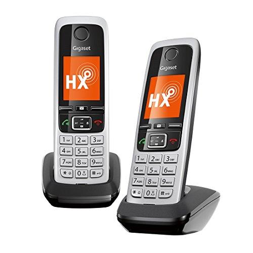 Gigaset C430HX Duo – 2 schnurlose IP-Telefone (Anschluss an Router/Basisstationen - Mobilteile mit Farbdisplay und HD-Voice) schwarz-silber