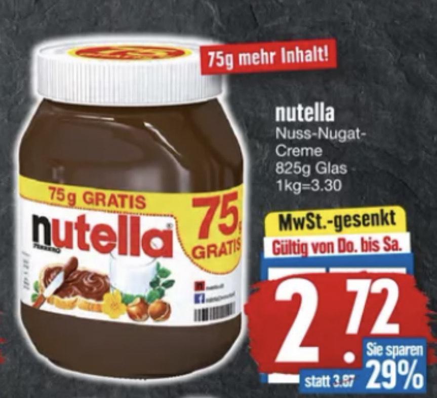 Nutella 825g-Glas [Edeka Südbayern] / 500g-Glas [Hit]