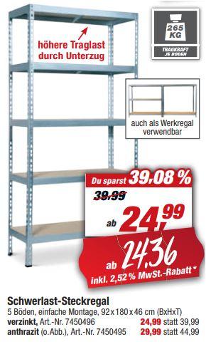 Regalwoche bei Toom: Schwerlastregal 92 x 180 x 46 cm, 5 Holzböden à 265 kg für 24,36 Euro [Toom-Filiale]