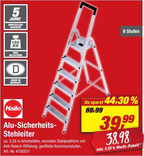 6-stufige HAILO Aluminium-Sicherheits-Stehleiter 'L20 Basic EasyClix' für 38,98 Euro [ Toom-Filiale ]