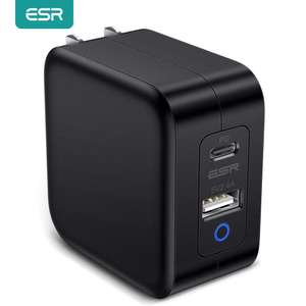 ESR Ladegerät (65W, GaN ,USB-C 3.0, 2-Ports: 45W USB-C + 12W USB) für 15,73€