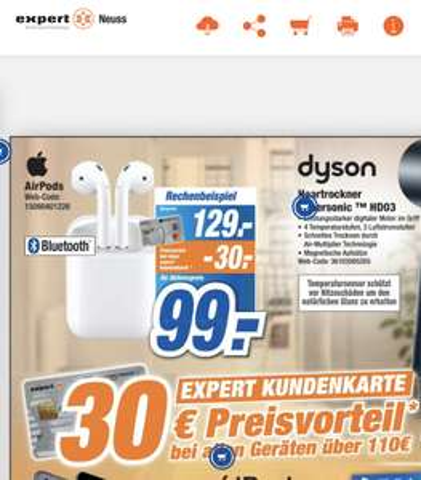 *Lokal expert Gröblinghoff* Apple Airpods 2 (Expert-Kunden-Kreditkarte)