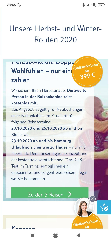 TUI Cruises Mini-Kreuzfahrt Zweite Person in der Balkonkabine ab Kiel/HH kostenlos