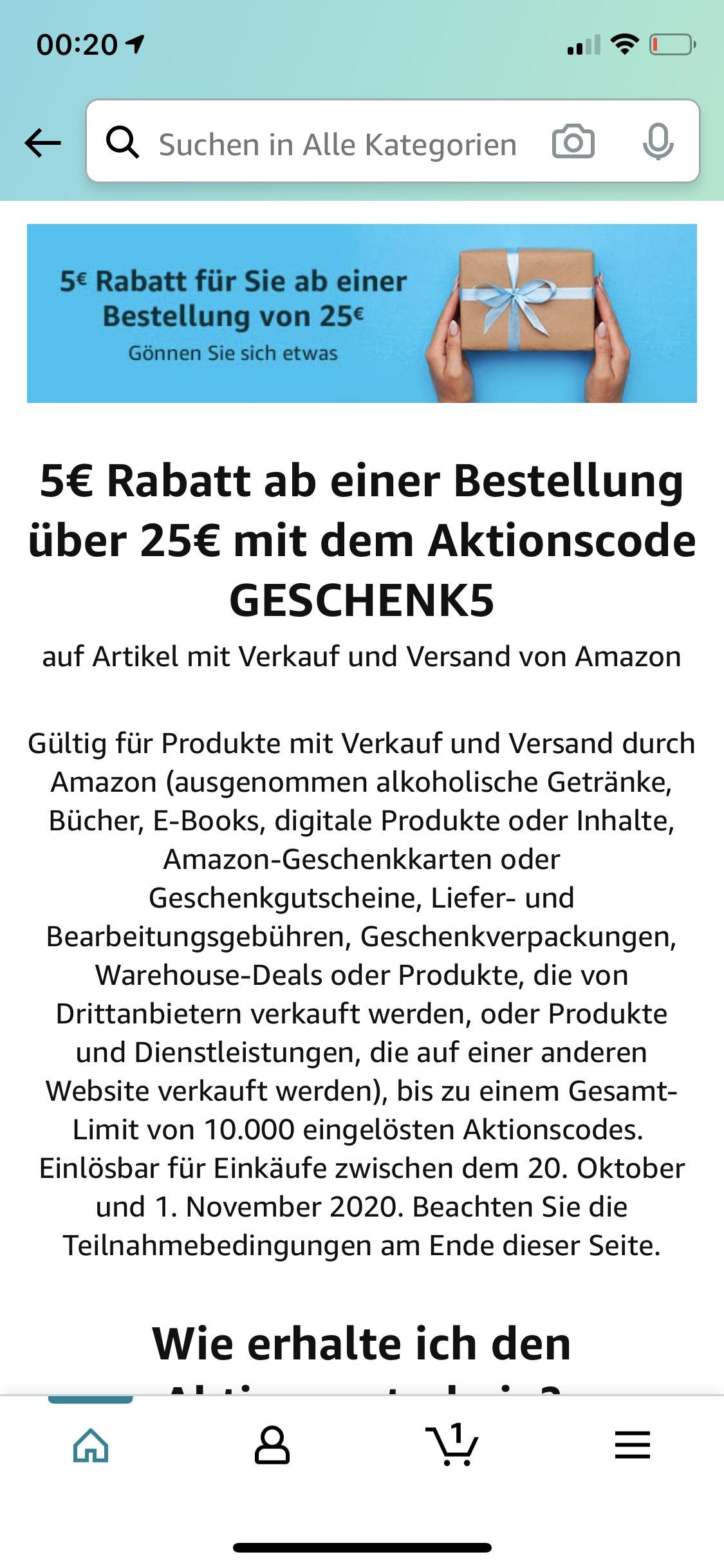 (Personalisiert) -5€ ab 25€ Bestellwert bei Amazon