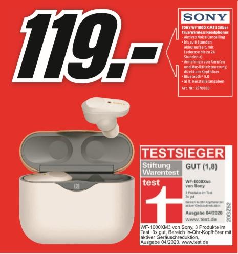 [Regional Mediamarkt Limburg] Sony WF-1000XM3 Noise Cancelling True Wireless Headphones Bluetooth für 119,-€