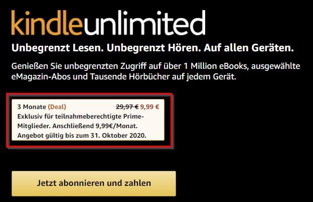 Amazon Prime - Kindle Unlimited 3 Monate zum Preis von einem