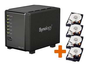 Synology DiskStation DS411slim, 4-Bay NAS-Server für 6,35 cm, inkl. 4 x 500 GB