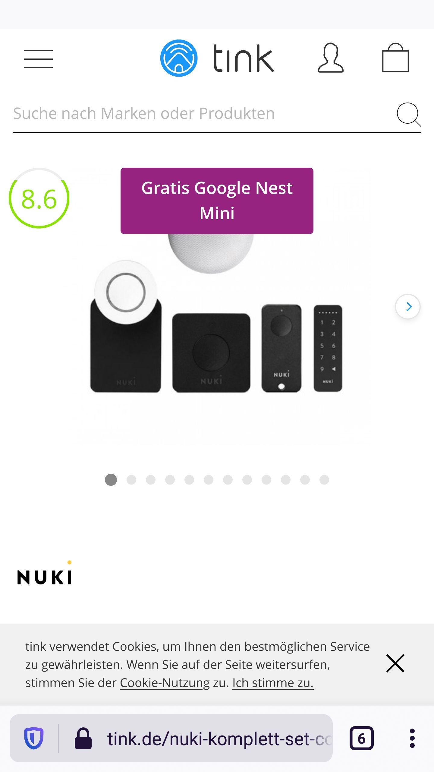 Nuki Komplett Set - Combo 2.0 + gratis Fob + Keypad + gratis Google Nest Mini 304€ mit Newslettergutschein